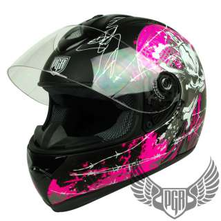 Skull PEAK Full Face Motorcycle DOT APPROVED Helmet Street ~ M