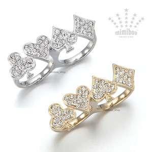 Clover Club Heart Spade Diamond Motive Two Finger Double Ring