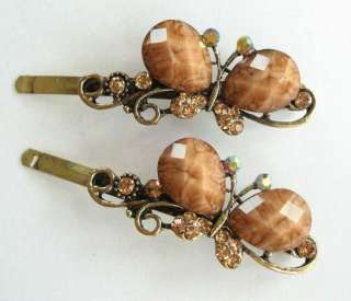VARY COLORS 2 PCS PAIR OF SWAROVSKI CRYSTAL BRONZE BUTTERFLY HAIR