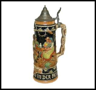 VINTAGE TALL GERMAN LIDDED BEER STEIN CIRCA 1950 HAND PAINTED