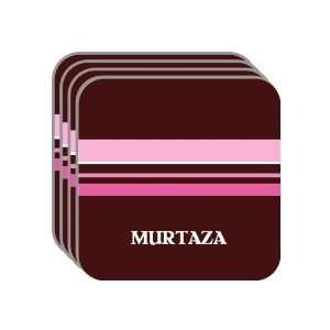 Personal Name Gift   MURTAZA Set of 4 Mini Mousepad Coasters (pink