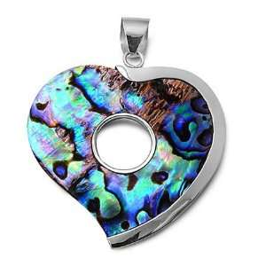 Rhodium Plated Brass Heart Pendant with Rainbow Abalone Jewelry