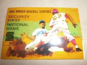 1968 Vintage Los Angeles Dodgers baseball schedule