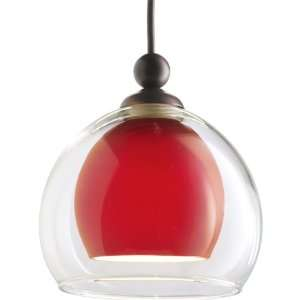 Mini Pendant in Red/Clear Glass and Urban Bronze