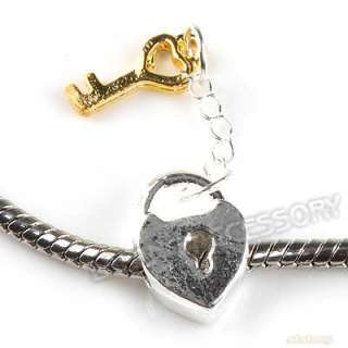 10 Lock&Key Charms Pendant Beads Fit European Bracelet 150436