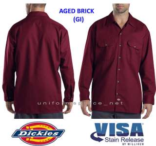 Dickies Men LONG SLEEVE Work Shirt Nwt 574 AGED BRICK