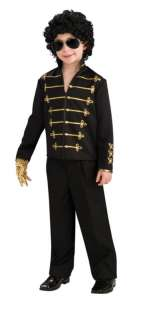 Michael Jackson Black Military Jacket Costume Child Lg
