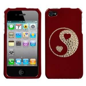 Red and White Crystal Rhinestone Bling Bling Ying Yang Hearts for At&t