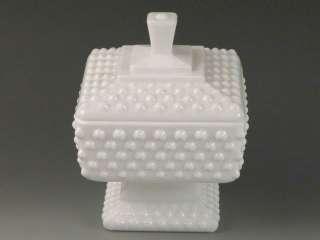 Fenton Hobnail White Milk Glass Lot Relish Dish Candy Jar Crimped Vase