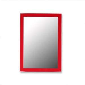 Ready to hang wall mirror with contemporary glossy red