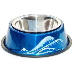Blue Wave Hand Painted Two Piece Bowl with Skid Stop