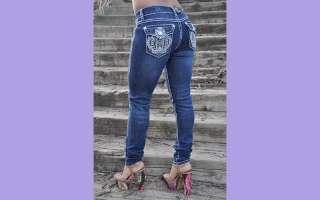 La idol Skinny jeans SZ 1 13 Dark Blue rhinestone crown FAST FREE