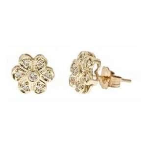 14k Yellow Gold Diamond Children Flower Earrings (0.22Cttw, SI Clarity