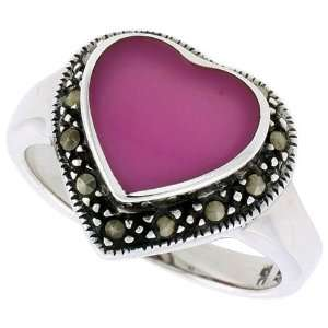 Sterling Silver Oxidized Heart Ring w/ Purple Resin, 9/16 (15mm) wide
