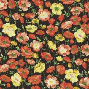MARIPOSA POPPIES YELLOW ORNG   Cotton Fabric BTY for Quilting, Crafts