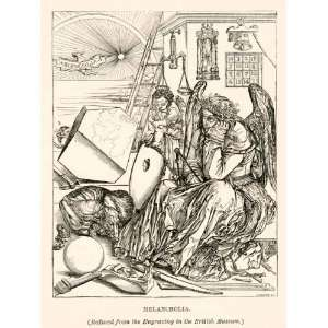 1882 Print Albrecht Durer Melancholia Sadness German