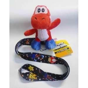 Mario Bros Yoshi Lanyard   Red Yoshi   Black Lanyard