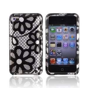 BLACK LACE SILVER For iPod Touch 4 Hard Case Cover