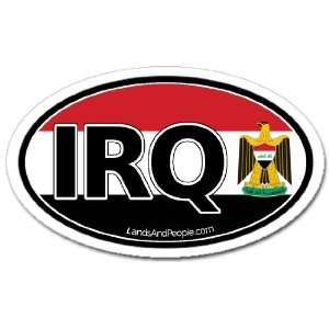 Iraq IRQ and Iraqi Flag Car Bumper Sticker Decal Oval