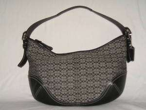 AUTH. COACH SIGNATURE BLACK HOBO BAG TOTE #6026 MINT