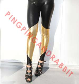 Black gold spandex leggings pants metallic tights edgy