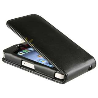 Black Leather Skin Case Cover For iPhone 4 4S 4G 4GS 4G