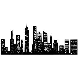 New York City Skyline Silhouette  Medium  Vinyl Wall Decal