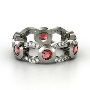 Locked In Band, Sterling Silver Ring with Red Garnet & White Sapphire
