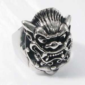 Big Lion Head Heavy Stainless Steel Mens Ring 1Ae