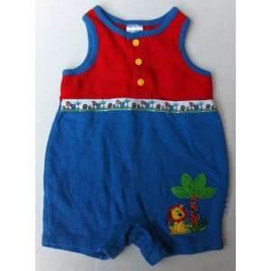 Lion Jungle Safari Romper Red Blue, Baby Boy 0 3 Months