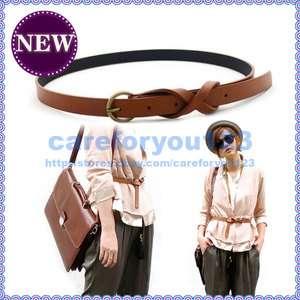Fashion Skinny Thin Ladies Women Brown Leather Belts C