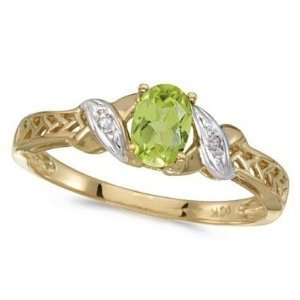 Peridot and Diamond Antique Style Ring in 14K Yellow Gold