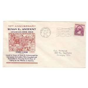 Scott # 784, Kapner (12) First Day Cover, Susan B. Anthony