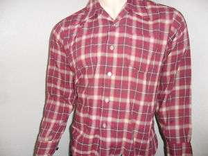 vtg mod 60s  KINGS ROAD SHIRT flannel plaid