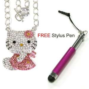Swarovski Crystal Hello Kitty Pendant Necklace in Pink and Gold + Free