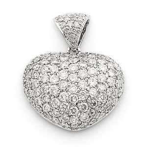 14k White Gold Diamond Puffed Heart Pendant Jewelry