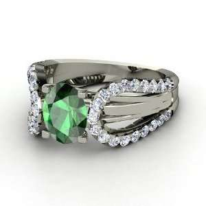 Rita Ring, Oval Emerald 14K White Gold Ring with Diamond