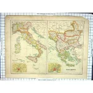 Antique Map Balkan Italy Turkey Bulgaria Servia Bosnia