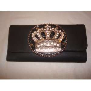 BLACK CROWN RHINESTONES WALLET CLUTCH DESIGNER INSPIRED Toys & Games
