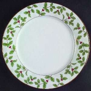 Holly And Berry Gold Dinner Plate, Fine China Dinnerware Kitchen