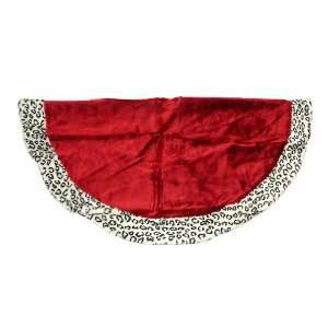Red Plush Christmas Tree Skirt With Animal Print Cheetah Trim: Home