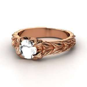 Rose and Thorn Ring, Round Rock Crystal 14K Rose Gold Ring