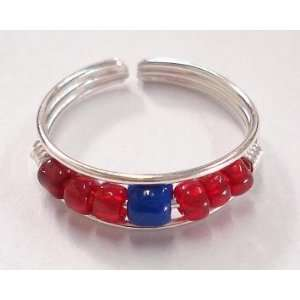 Red & Blue Beaded Toe Ring