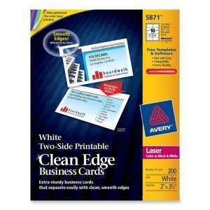 Avery Clean Edge Business Card. 200 CARDS CLEANEDGE WHITE