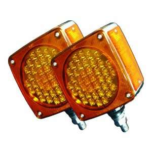 Square Amber Amber LED Fender Mount Lights, 1 Post