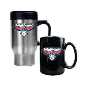 Atlanta Hawks NBA Stainless Steel Travel Mug & Black Ceramic Mug Set