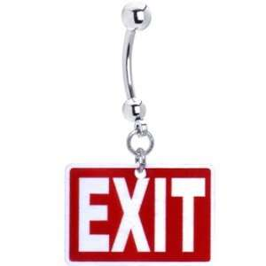 Exit Traffic Sign Belly Ring Jewelry