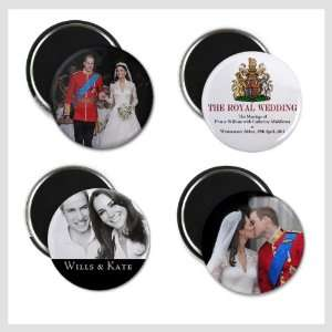 Prince William Kate Middleton Royal Wedding 4 Pack of 2.25 inch Fridge