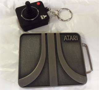 NIP  VIDEO GAMER GIFT Set ~ ATARI LOGO ~ BELT BUCKLE/Joystick Keychain