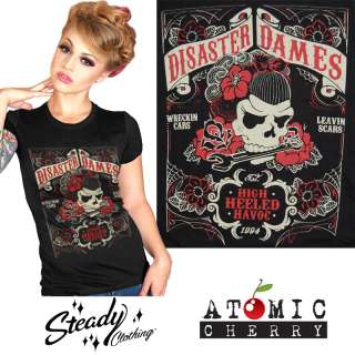 Steady Clothing Disaster Dames T Shirt Rockabilly Punk Tattoo Pin Up